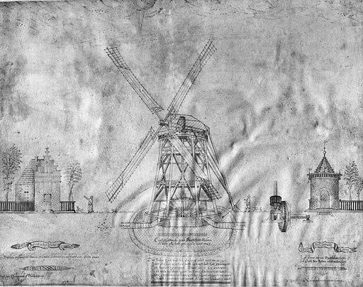 Molen 1632. originele pentekening van Leeghwater. aanwezig in het Archief van het Waterschap de Beemster te Purmerend. - Beemster - 20029482 - RCE