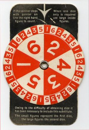 Monopoly (game) - During World War II, the dice in the United Kingdom were replaced with a spinner because of a lack of materials.