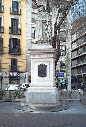 Tirso de Molina - Monument to Tirso de Molina in Madrid (R. Vela, 1943).