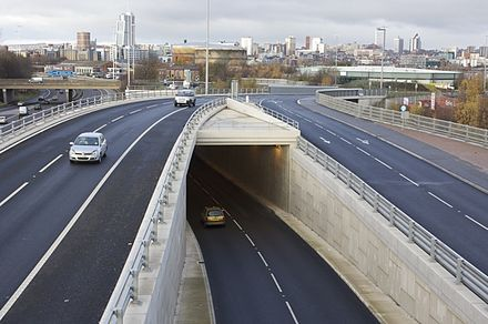 M621 heading towards Central Leeds Moor Road Underpass - geograph.org.uk - 1600451.jpg