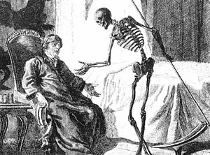 Western depiction of Death as a skeleton carrying a scythe
