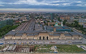 Moscow Paveletskaya railway station - Aerial view of the station