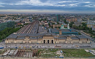 Moscow Paveletsky railway station - Aerial view of the station