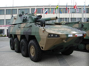 Huta Stalowa Wola - 120mm mortar RAK, HSW is producer of turret part, vehicle is from WZM KTO Rosomak type