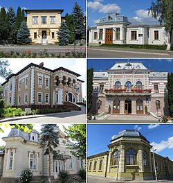 From top-left, clockwise:Nicu Gane National College, House of Notable People, City Hall, Mihai Băcescu Water Museum, Children's House, Ion Irimescu Art Museum
