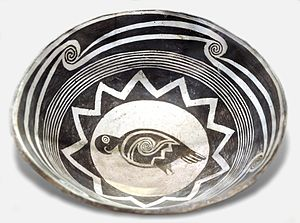 Mimbres River - Mimbres pot depicting a macaw.