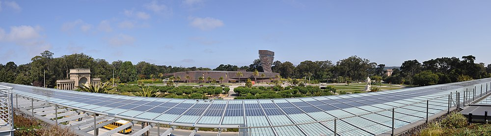 Panoramic roof view across the Music Concourse to the de Young Museum is underscored by an array of solar cells