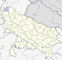 मानचित्र जिसमें मुज़फ़्फ़रनगर ज़िला हाइलाइटेड है