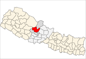 Myagdi District i Dhawalagiri Zone (grå) i Western Development Region (grå + lysegrå)