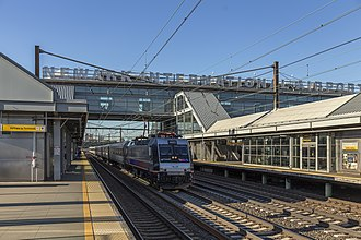Newark Liberty International Airport Station - An NJ Transit train passes through the station in 2017.