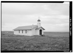 NORTH SIDE AND WEST FRONT - St. Matrona Russian Orthodox Church, Port Heiden, Lake and Peninsula Borough, AK HABS AK,5-POHEI,1B-1.tif