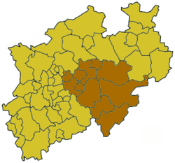 Map of North Rhine-Westphalia highlighting the Regierungsbezirk of Arnsberg