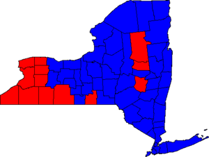 Carl Paladino - County results of the 2010 election, with counties won by Paladino in red.