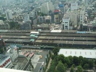Nakano Station (Tokyo) - Nakano Station viewed from above in June 2003