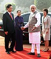 Narendra Modi welcoming the Prime Minister of Socialist Republic of Vietnam, Mr. Nguyen Tan Dung and Madame Tran Thanh Kiem, at the Ceremonial Reception, at Rashtrapati Bhavan, in New Delhi on October 28, 2014.jpg