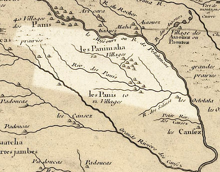 Nebraska in 1718, Guillaume de L'Isle map, with the approximate area of the future state highlighted. Nebraska 1718.jpg