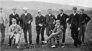Andrew Kirkaldy (golfer) - Kirkaldy, standing third from left, on 11 October 1894 at the New Luffness Competition. There are a number of famous golfers in the photo, chief among them is the legendary Old Tom Morris seated far left.