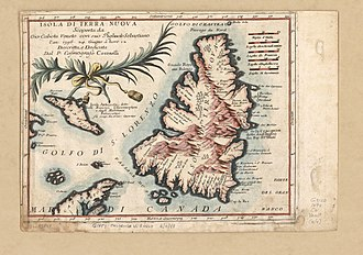 Map of Newfoundland by Vincenzo Coronelli, 1 January 1692 Newfoundland Coronelli.jpg