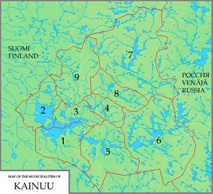 The municipalities of Kainuu: 1. Kajaani 2. Va...