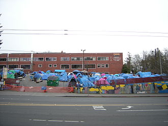 Tent city - Nickelsville toward the end of its stay in Seattle's University District.