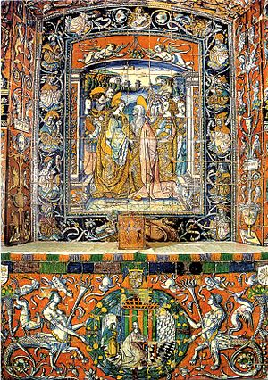 Azulejo - Chapel of the Alcázar of Seville (Spain) covered with tin-glazed tiles painted in 1504 by Francisco Niculoso