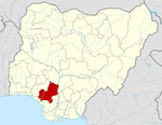 Map of Nigeria highlighting Edo State
