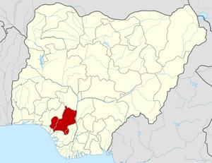 Roman Catholic Archdiocese of Benin City - Image: Nigeria Edo State map