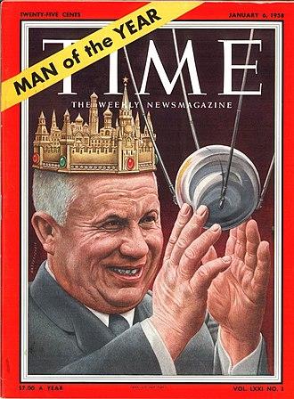 Otto Wille Kuusinen - Kuusinen survived the Stalin era and served under Nikita Khrushchev (here, Time Magazine's Man of the Year for 1957)