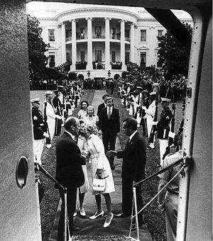 Impeachment process against Richard Nixon - August 9, 1974, White House South Lawn: President Nixon and his wife are about to board the helicopter to take them away. Vice President Gerald Ford, left, less than an hour after this moment, became President following Nixon's resignation becoming effective.