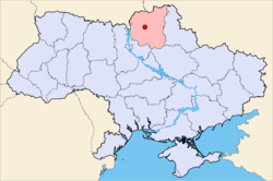 Location of Nizhyn in Ukraine