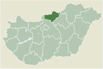 Bátonyterenye - Location of Nógrád county in Hungary