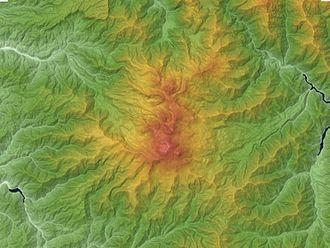 Mount Norikura - Relief map of Norikura volcano.