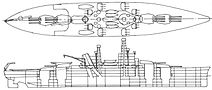 A line drawing of a ship with four gun turrets—two mounted each fore and aft—a large superstructure with two high masts, and a catapult over the third turret.