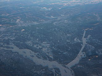 North Pole, Alaska - An aerial view of North Pole, looking north, with the Tanana River to the southwest of it