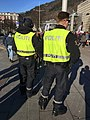 Norwegian police officers with high-visibility uniform vests (utrykningspolitiet holder vakt under folkearrangement) in Christies gate in Bergen, Norway 2018-03-17 a.jpg