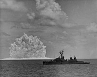 Nuclear-tipped ASROC anti-submarine rocket test in 1962 Nuclear depth charge explodes near USS Agerholm (DD-826), 11 May 1962.jpg