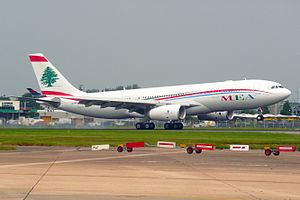 Airbus A330 - A Middle East Airlines A330-243 landing at London Heathrow Airport in 2016