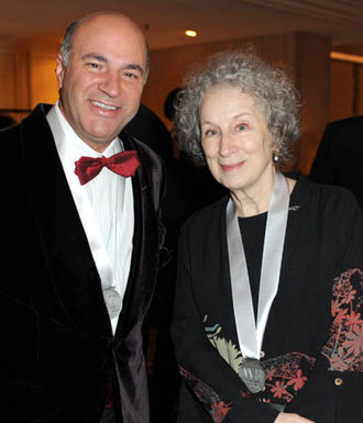 Writers' Trust of Canada - Authors Kevin O'Leary and Margaret Atwood at the 2011 Writers' Trust Gala