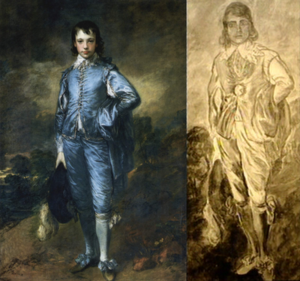 The Boy in Blue (1919 film) - Comparison of Gainsborough's painting with the one in the film, note the cursed jewel in the film painting