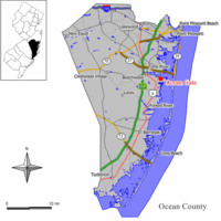 Map of Ocean Gate in Ocean County. Inset: Location of Ocean County highlighted in the State of New Jersey.