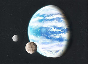 Ocean planet - Artist's illustration of a hypothetical ocean planet with two natural satellites