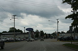 Looking southeast at downtown Oconto Falls