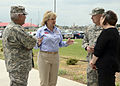 Oklahoma Gov. Mary Fallin, center left, discusses tornado damage with U.S. Army Maj. Gen. Myles Deering, left, the adjutant general of Oklahoma, Gen. Frank Grass, center right, the chief of the National Guard 130528-Z-TK779-024.jpg
