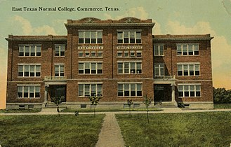 """History of East Texas Normal College - ETNC's """"Old Main"""" building in Commerce in 1912"""