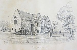 Old West Kirk - Sketch of the kirk as it was from around 1700 to 1841.