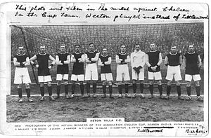 1912–13 FA Cup - 1913 Aston Villa team after pre-cup game with Chelsea. The three players far right are Littlewood (who did not appear in the cup final), Stephenson, and Barber. Tommy Weston, who did appear in the cup rounds, is not shown.