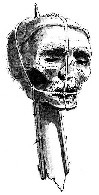 Oliver Cromwell's head - Image: Oliver Cromwell's head, late 1700s