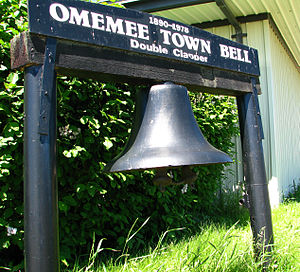 Omemee, North Dakota - Town Bell of Omemee, ND, now on display in front of the Bottineau Country Historical Museum.