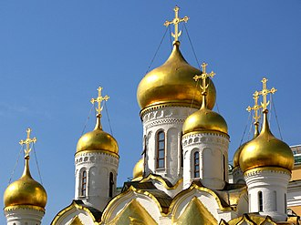 Cathedral of the Annunciation, Moscow - The gilded onion domes of the Annunciation Cathedral.