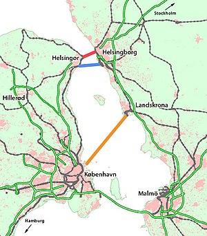 HH Tunnel - Proposals for a second Øresund link (red, blue, and orange lines).